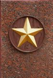 Soviet star on granite monument. As a memory of soldier`s heroism in the Great Patriotic War Royalty Free Stock Photo