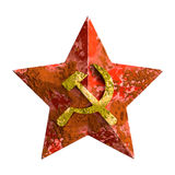 Soviet star rust badge. Vintage five point red soviet star, inside hammer and sickle sign with rusty textures Stock Photo