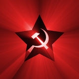 Soviet star symbol red light flare. A five point star, inside hammer and sickle sign with powerful red light halo. Extended flares for cropping Stock Images