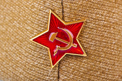 Soviet State Star on forage-cap Stock Images