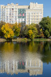 Soviet Style Building and Water Reflection Royalty Free Stock Photos