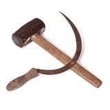 Soviet symbol sickle and hammer isolated on white Stock Image