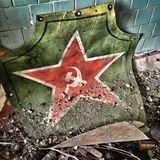 Soviet symbols. Hammer and sickle symbols in Prypiat abandoned city, Chernobyl Exclusion zone Stock Photography