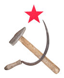Soviet symbols of the hammer and sickle with a red star Royalty Free Stock Photography