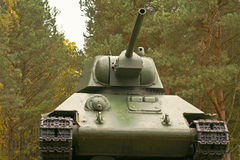 Soviet T34 tank, the legend of World War II. Soviet T34 tank, a party to of the Second World War. Mounted on a pedestal in City Beliy Tver region Stock Images