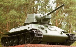 Soviet T34 tank, the legend of the Second World War. Side view. Soviet T34 tank, a party to of the Second World War. Mounted on a pedestal in City Beliy Tver Stock Images