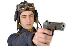 Soviet tank driver with a handgun Stock Photography