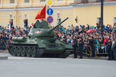 Soviet tank of the Great Patriotic War T-34-85 on the parade in honor of the Victory Day Stock Photo