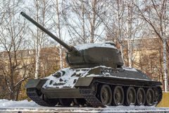 Soviet tank a monument. Stock Photos