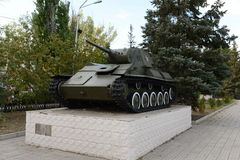 Soviet tank on the Plaza of the memorial to the defenders of the Motherland in Kamensk-Shakhtinsky. Royalty Free Stock Images