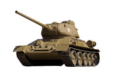 The Soviet tank T-34-85. Legendary Soviet tank T-34-85 at war in the second world war. It is isolated on a white background royalty free stock photos