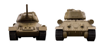 Soviet tank T-34-85. Legendary Soviet tank T-34-85 at war in the second world war. The front view and back. It is isolated on a white background stock photography