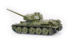 Soviet tank T34. Model of the tank T-34 on a white background Stock Image