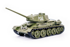 Soviet tank T34. Model of the tank T-34 on a white background Stock Photos