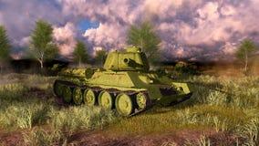 Soviet tank T 34 take aim at the camera Stock Photos