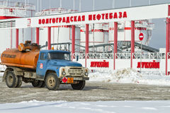 Soviet tanker truck ZIL stands amid tank farms. Royalty Free Stock Photography