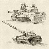 Soviet Tanks. The series of soviet military enginery. The T-54 and T-55 tanks were a series of main battle tanks designed in the Soviet Union Royalty Free Stock Images