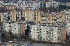 Soviet time old block houses panorama in Vilnius, Lithuania stock photos