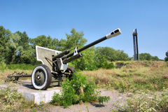 Soviet-times WWII military monument on Island of Death. Shot near Dnieper river, Ukraine Royalty Free Stock Images