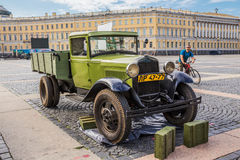 Soviet truck GAZ-AA of times of World War II on the military-patriotic action on Palace Square, Saint-Petersburg Stock Photo