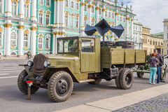 Soviet truck of times of World War II on the military-patriotic action on Palace Square, Saint-Petersburg Stock Photography