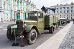 Soviet truck ZIS-5 of times of World War II on the military-patriotic action dedicated to the Day of Memory and Grief on Palace Sq Royalty Free Stock Photo
