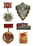 Soviet and Ukraine labor and military icon set. For Distinction. Collection of the Soviet military and labor badges isolated on white Royalty Free Stock Photos