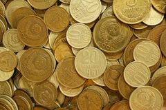 Soviet union coins background Royalty Free Stock Images