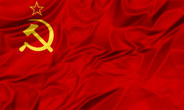 Soviet Union Flag. 3D illustration of Flag of the old Soviet Union, red star and hammer sickle, adopted from 12 November 1923 to 15 August 1980 in silk cloth Royalty Free Stock Photo