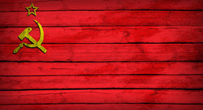 Soviet Union flag painted on wooden boards Royalty Free Stock Photos