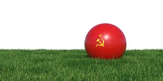 Soviet Union flag soccer ball lying in grass world cup 2018. Isolated on white background. 3D Rendering, Illustration Stock Photos