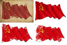 Soviet Union Historic Flag. Waving USSR flag. 4 options for multiple uses 1) aged paper, 2) clean cut, 3) scratched and 4) under texture Royalty Free Stock Images