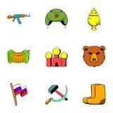 Soviet union icons set, cartoon style Stock Image