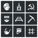 Soviet Union and the repression of political prisoners icons set. Vector Illustration. Vector  Flat Icons collection on a black background for design Royalty Free Stock Photography