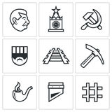 Soviet Union and the repression of political prisoners icons set. Vector Illustration. Royalty Free Stock Photography