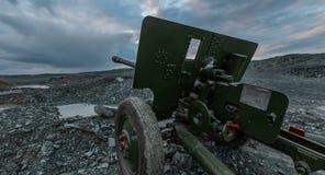 Soviet Union`s artillery cannon time of World War 2. Hyperlapse.