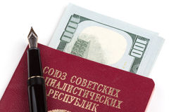 Soviet union travel passport with money Royalty Free Stock Photos