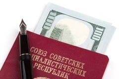 Soviet union travel passport with money Royalty Free Stock Photos