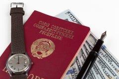 Soviet union travel passport with money Stock Photos