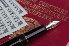 Soviet union travel passport with money Royalty Free Stock Photography