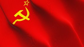 Soviet Union USSR flag waving on wind. Soviet Union USSR background fullscreen flag blowing on wind. Realistic fabric texture on windy day Stock Image