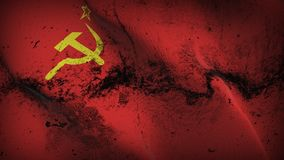 Soviet Union USSR grunge dirty flag waving on wind. Soviet Union USSR background fullscreen grease flag blowing on wind. Realistic filth fabric texture on windy Stock Photo