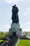 Soviet War Memorial. BERLIN - MAY 08, 2016: Victory in Europe Day. Treptower Park. Soviet War Memorial (Monument to the Liberator Soldier), and numerous guests Royalty Free Stock Photography