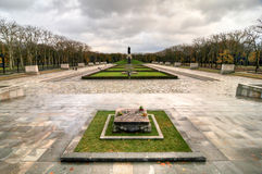 Soviet War Memorial in Treptower Park, Berlin, Germany Panorama. Berlin, Germany - November 6, 2010: Soviet War Memorial commemorate the Battle of Berlin in 1945 Royalty Free Stock Image