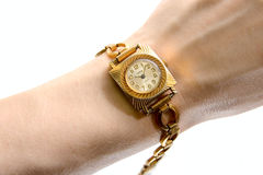 Soviet wrist-watch on human hand Royalty Free Stock Photo