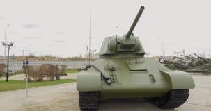 Soviet WW2 middle tank t-34. Tank of WWII t-34 stock footage