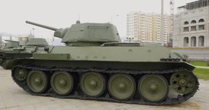 Soviet WW2 middle tank t-34. Tank of WWII t-34 stock video footage