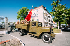 Soviet WW2 Truck ZIS-5V With Men Soldiers Uniform. Prepare 9 May Royalty Free Stock Images