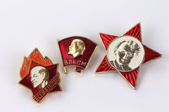 Sovietic vintage pioneers pins Royalty Free Stock Images