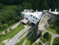 Sovinec城堡在捷克的Jiříkov 免版税库存照片